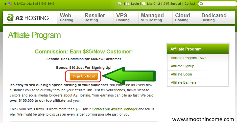 A2 Hosting Affiliate Program Review - Step 1