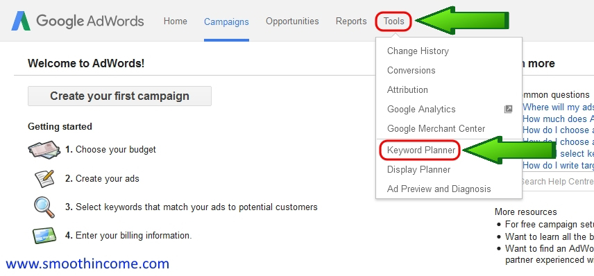 How to use google adwords keyword planner tool step by step guide - Step 2