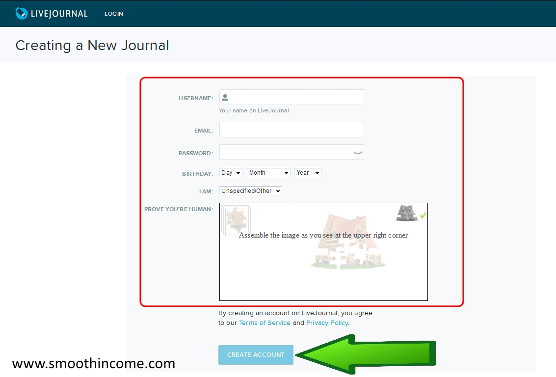 How to create Livejournal blog sites