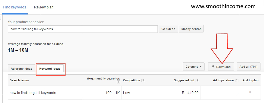 How to find long tail keywords using Google keyword tool for free